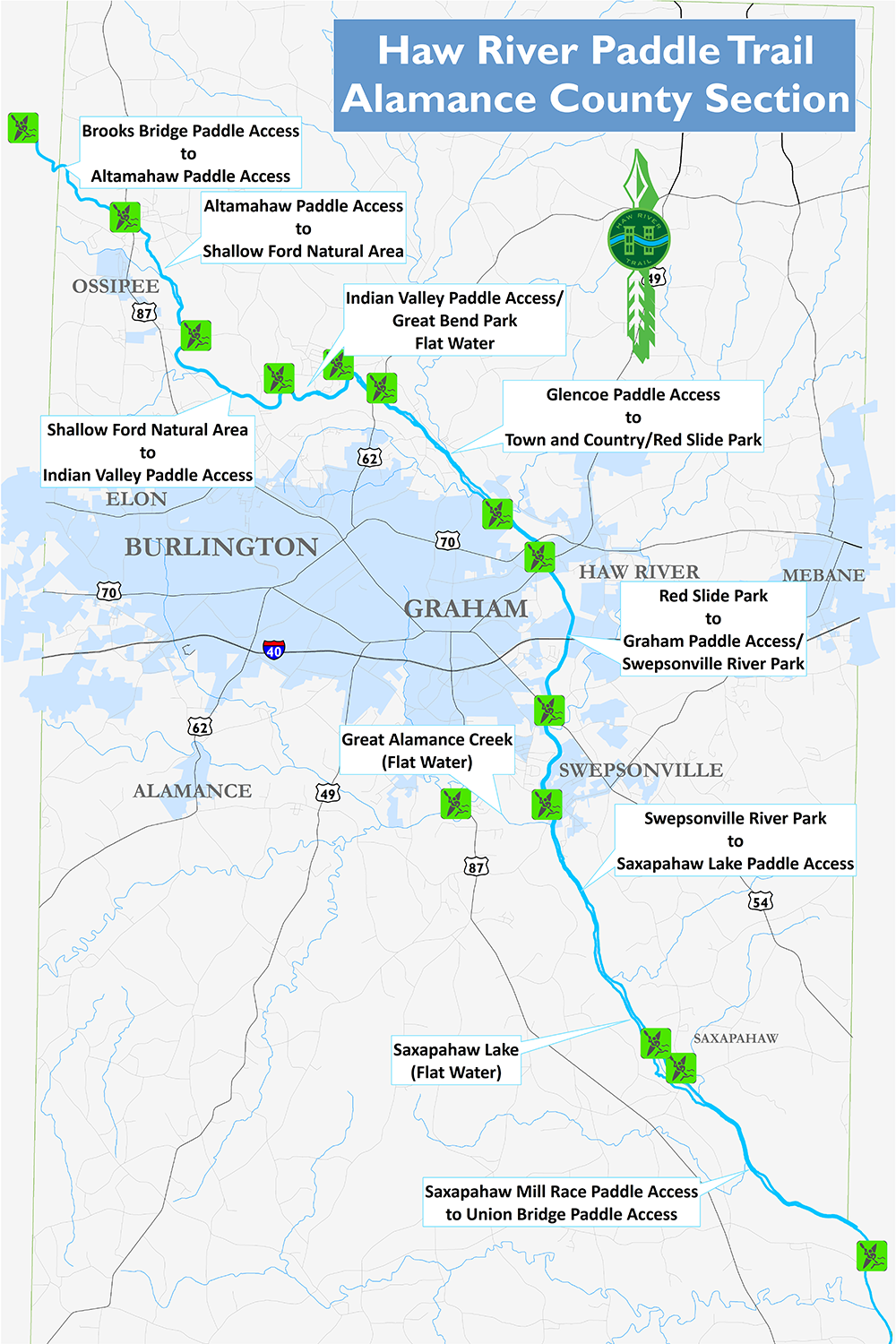 Haw River Nc Map.Paddle Trail Overview
