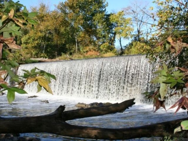 a photo of the river pouring over the Glencoe Dam at Great Bend Park framed by maple trees and a log in the foreground