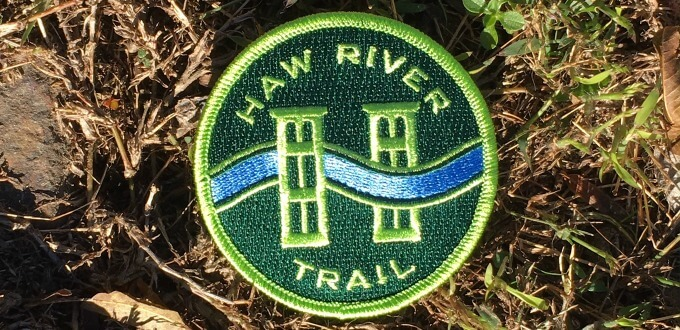 photo of embroidered patch of Haw River Trail logo