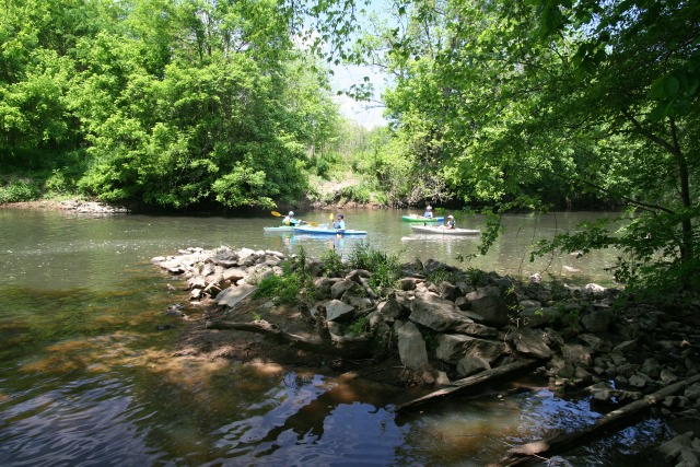 photo of four kayakers on the river at Indian Valley with a rocky island spit in the foreground and trees in the background