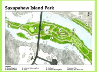 The Saxapahaw Island Park Plan as a watercolor drawing. The park is slated to open in Spring 2017 and will feature a loop trail, a boardwalk area, an open gathering area, a waterfront area, a Nature Play Area, and a lookout point.