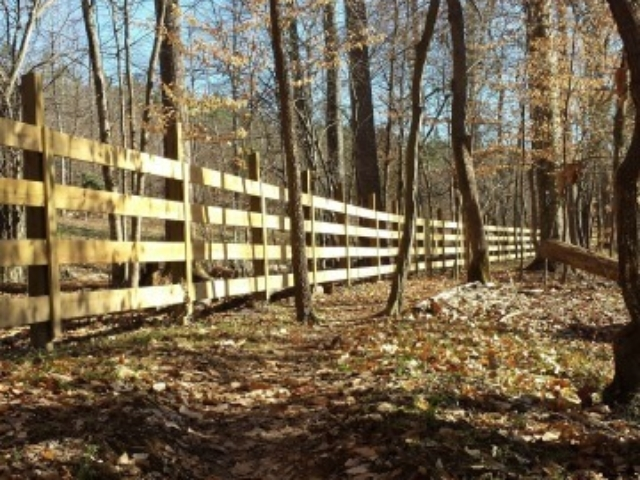 a photo of the trail at Sellers Falls looking along the trail with a wooden fence along the left and mostly leafless trees