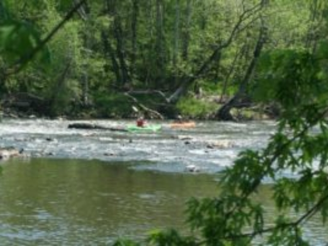 two paddlers, one in a green kayak and one in an orange one, paddling through rapids on the Haw with trees in the foreground